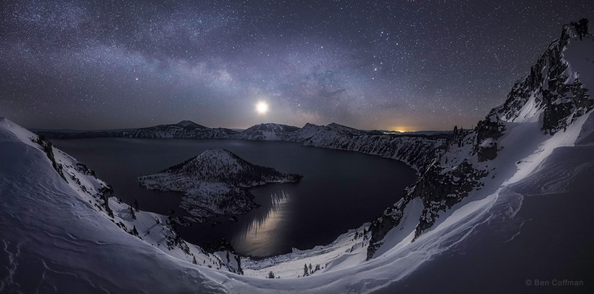 """""""A Raising of the Hackles"""" by Ben Coffman of Portland, USA, for his outstanding capture of the rising Milky Way and the crescent Moon in the crystal clear winter morning sky of the Crater Lake in Oregon (Feb 2015)."""